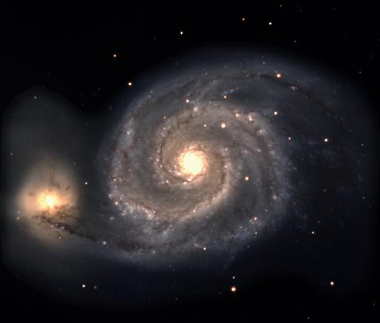 The whirlpool galaxy as seen by the Isaac Newton Telescope in January 1997. Click for live Internet link.
