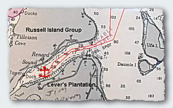Russell Island Group. The long embayments are deep. Shallow water anchorages are few and strewn with brittle living corals.