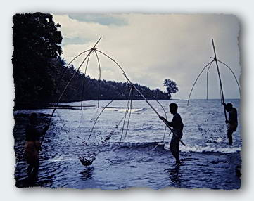 At certain seasons, men fish for sardines with nets on poles.