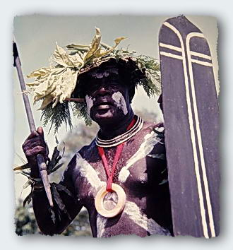 A Ceremonial Warrior expresses the tradition of prejudice in the Solomon Islands.