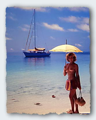 Freddy wears a Trobriand Island skirt, and totes some drinking coconuts. It's nice to be isolated and alone on this delightful island.� http://www.this-magic-sea.com/order.html