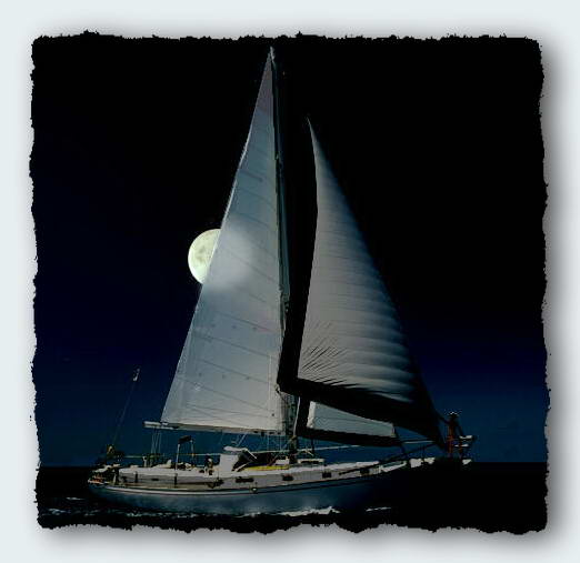 Moira by moolight off the coast of Queensland on one of the best sails ever.